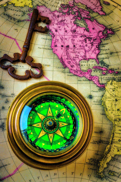 Wall Art - Photograph - Green Compass And Old Key by Garry Gay