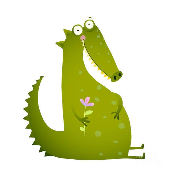 Wall Art - Digital Art - Green Cute Kids Crocodile Sitting With by Popmarleo
