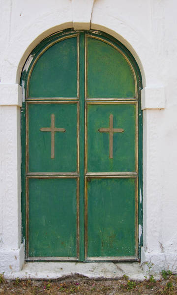 Green And Gray Photograph - Green Door Of A Church by Edomor