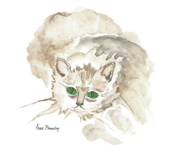 Painting - Green Eyed Cat by Anne Beverley-Stamps