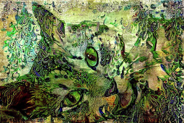 Digital Art - Green Eyed Lady  by Peggy Collins