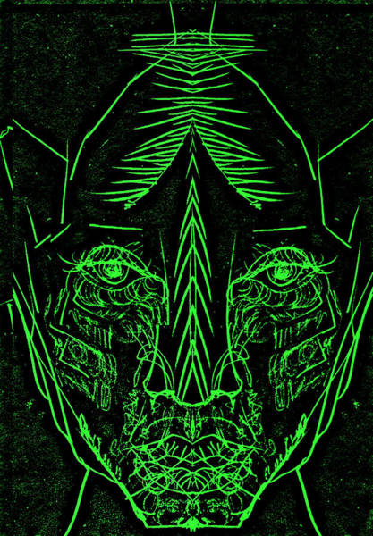 Digital Art - Green Face by Artist Dot