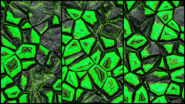 Digital Art - Green Fantasy Stone Wall Triptych by Don Northup