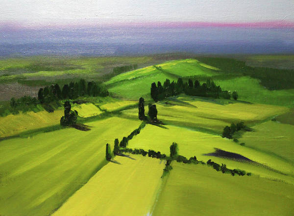 Painting - Green Fields by Nancy Merkle