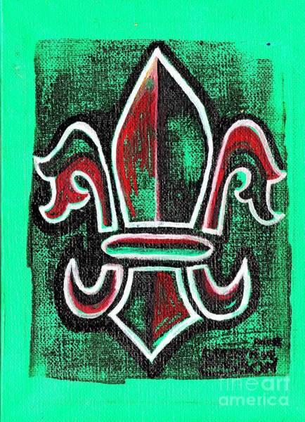 Wall Art - Painting - Green Fleur De Lys by Genevieve Esson
