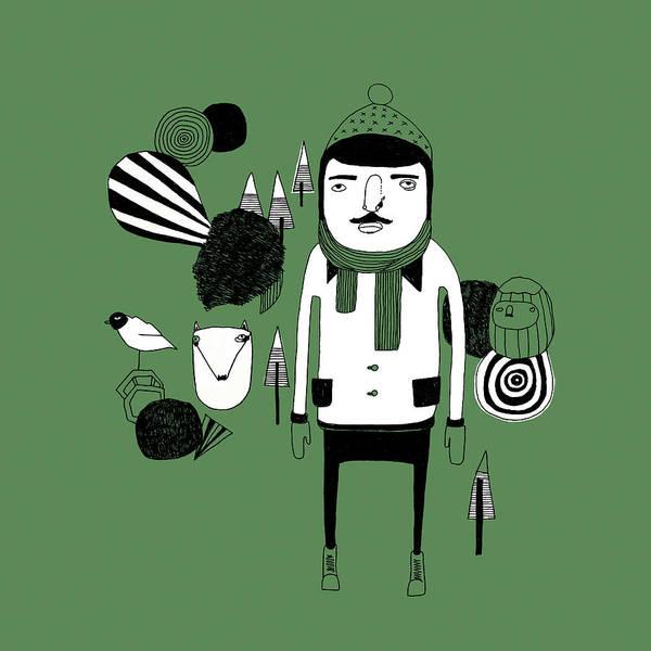 Illustration Digital Art - Green Forest by Stine Kaasa Illustration