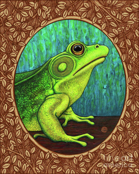 Painting - Green Frog Portrait - Brown Border by Amy E Fraser