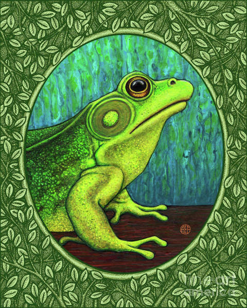 Painting - Green Frog Portrait - Green Border by Amy E Fraser
