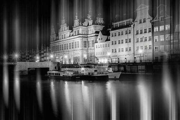 Wall Art - Photograph - Green Gate And Motlawa River Gdansk Poland By Night Black And White by Carol Japp