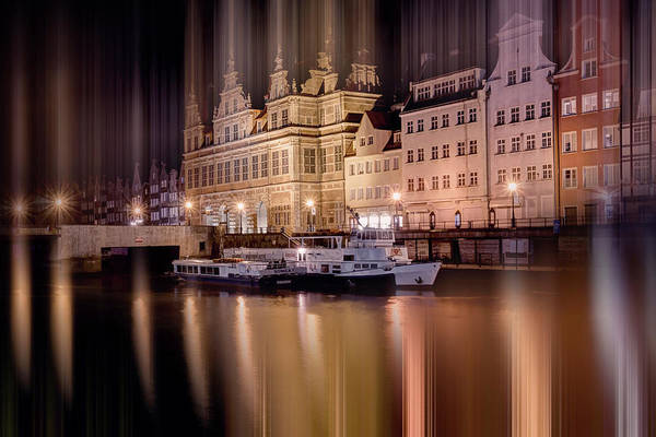 Wall Art - Photograph - Green Gate And Motlawa River Gdansk Poland By Night by Carol Japp