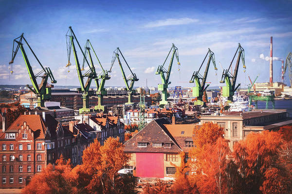 Wall Art - Photograph - Green Giants Of Gdansk Shipyard Poland  by Carol Japp