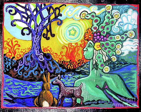 Wall Art - Painting - Green Godess With Mother Natu by Genevieve Esson