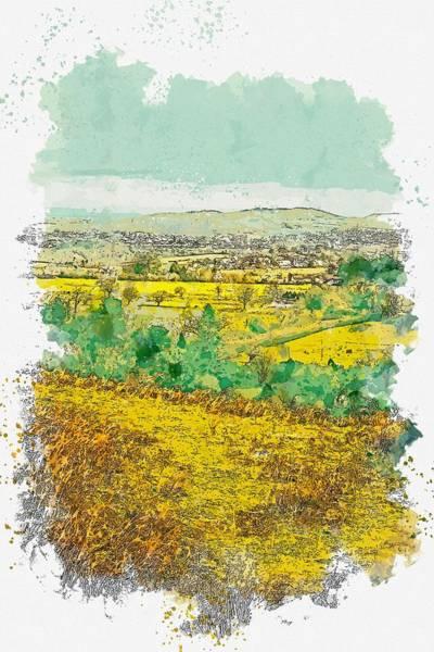 Wall Art - Painting - Green Grass Field Watercolor By Ahmet Asar by Ahmet Asar