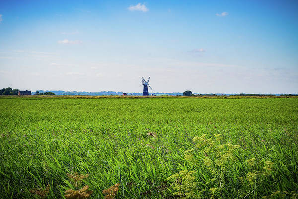 Photograph - Green Grass Field With Windmill On Horizon by Scott Lyons