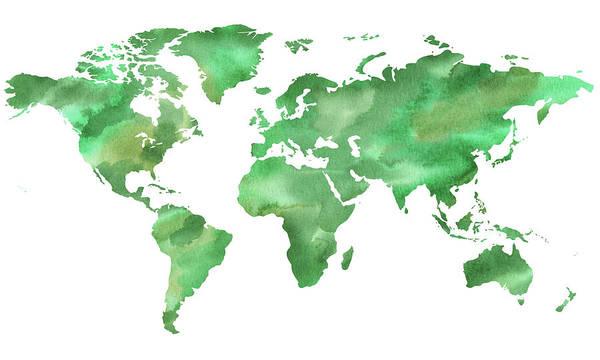 Wall Art - Painting - Green Green World Watercolor Map by Irina Sztukowski