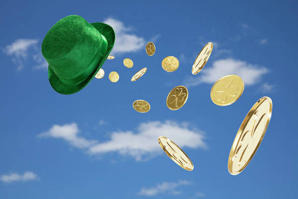 Luck Photograph - Green Hat Sweeping Gold Coins by Vstock Llc