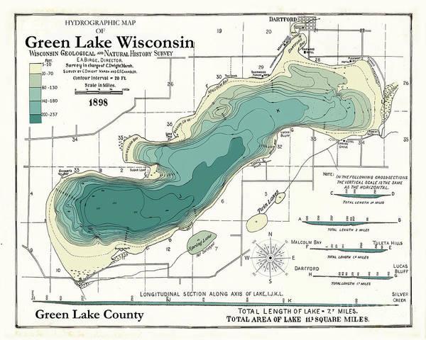 Wall Art - Digital Art - Green Lake Wisconsin  1898 Map by Jean Plout