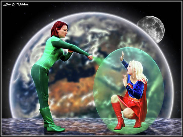 Photograph - Green Lantern Vs Super Woman by Jon Volden