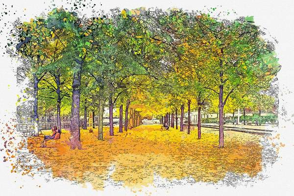 Painting - Green Leafed Trees Watercolor By Ahmet Asar by Celestial Images