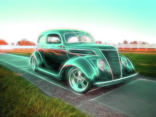 Digital Art - Green Lines by Rick Wicker
