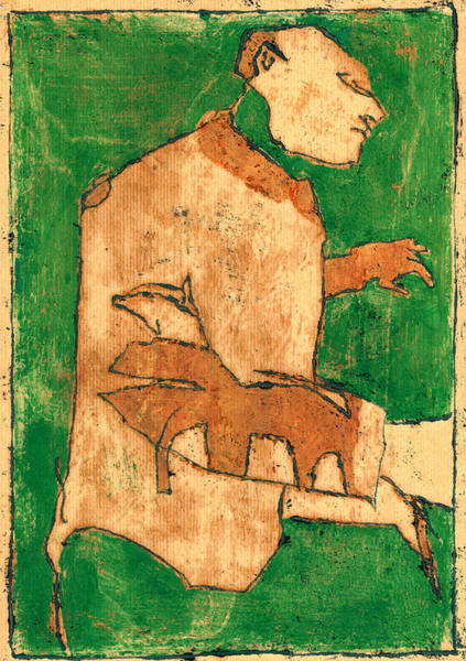 Painting - Green Man And His Pet Dog Portrait by Artist Dot