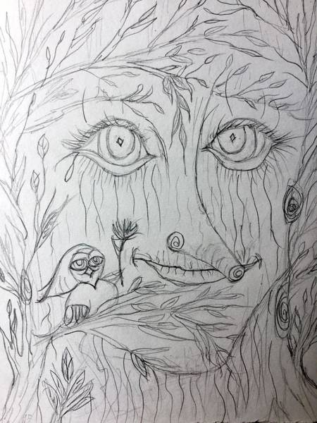 Drawing - Green Man Of The Forest by Theresa Guardado