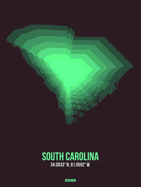 Wall Art - Digital Art - Green Map Of South Carolina by Naxart Studio