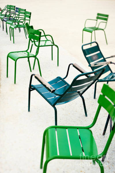 Green Metallic Chairs In The City Park Art Print