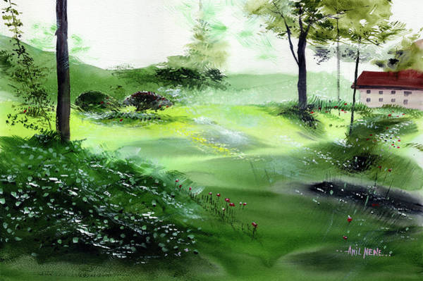 Painting - Green Morning 3 by Anil Nene
