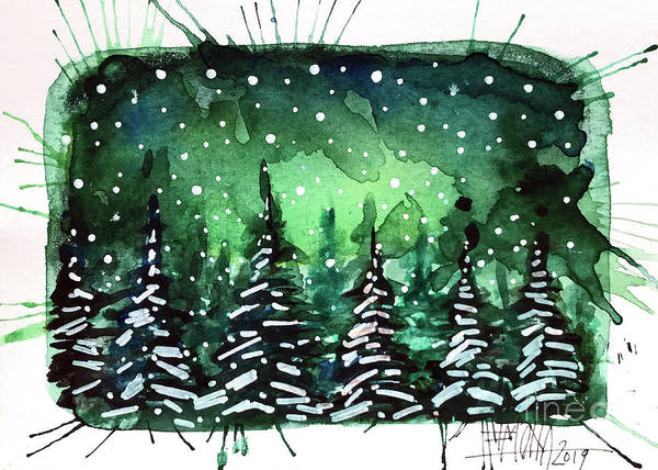 Wall Art - Painting - Green Night - Winterscape Watercolor - Mona Edulesco by Mona Edulesco