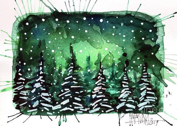 Aurora Borealis Painting - Green Night - Winterscape Watercolor - Mona Edulesco by Mona Edulesco