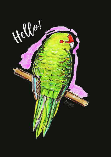 Green Parrot Drawing - Green Parrot by Viktoryia Lavtsevich