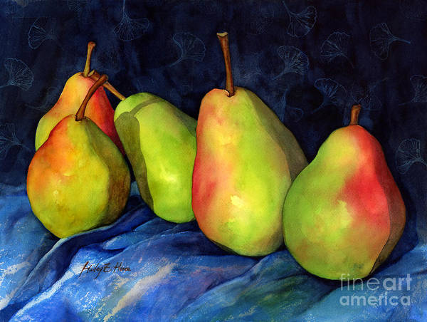 Light Green Painting - Green Pears by Hailey E Herrera