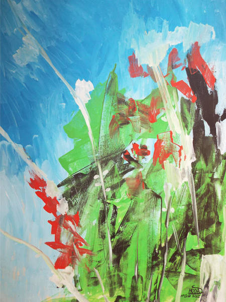 Painting - Green Plants by Hoda Said Ibrahim
