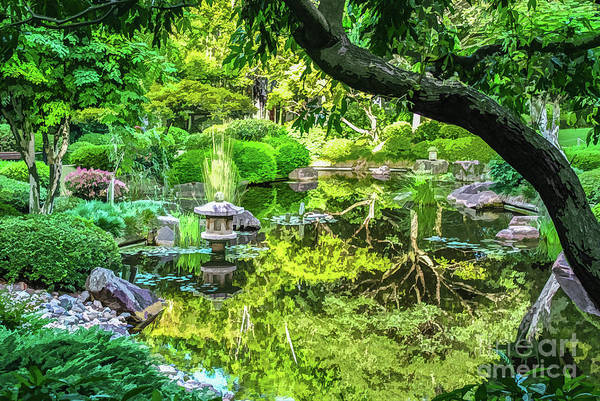 Digital Art - Green Reflections In The Pond Of A Japanese Ornamental Garden by Susan Vineyard