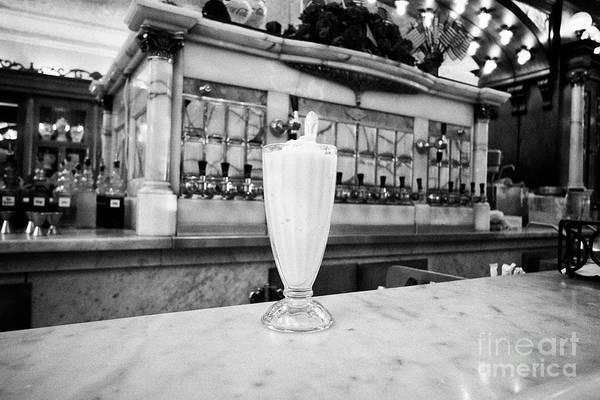 Wall Art - Photograph - Green River Ice Cream Float On An Onyx Marble Countertop In Zaharakos Original Ice Cream Parlour Col by Joe Fox