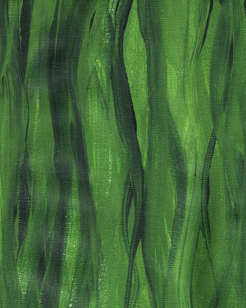 Wall Art - Painting - Green Seaweed Abstract Organic Lines I by Irina Sztukowski