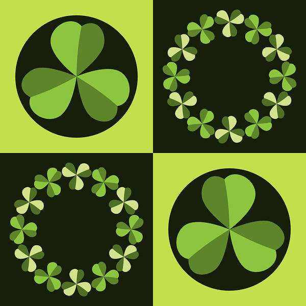 Digital Art - Green Shamrocks Circles And Squares by MM Anderson
