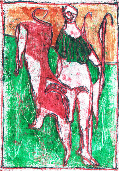 Painting - Green Shepherd And A Ram by Artist Dot