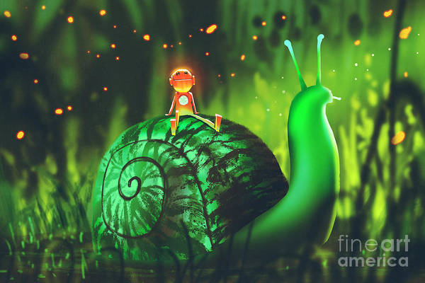 Wall Art - Digital Art - Green Snail With Cute Robot Sits On Its by Tithi Luadthong