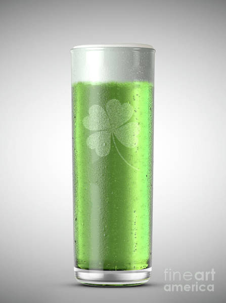 Frosty Digital Art - Green Stange Beer Pint by Allan Swart