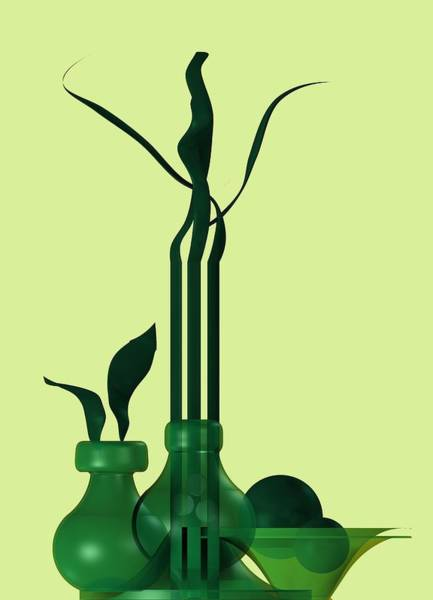 Digital Art - Green Still Life With Cool Elements by Alberto RuiZ