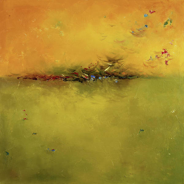 Terracotta Painting - Green Sunset by Patricia Pinto