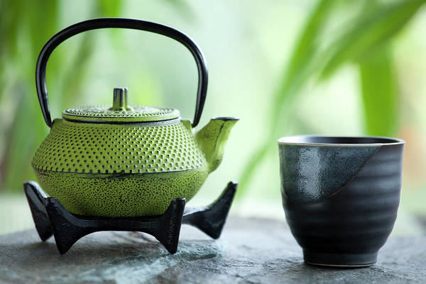 Tea Photograph - Green Tea And Cast Iron Teapot by Marsbars
