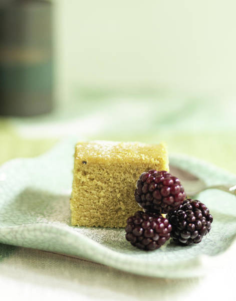 Green Berry Photograph - Green Tea Cake With Blackberries by Stok-yard Studio