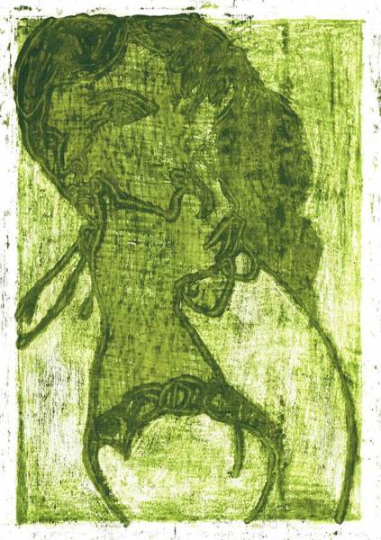 Painting - Green Thumb Cheek Girl by Artist Dot