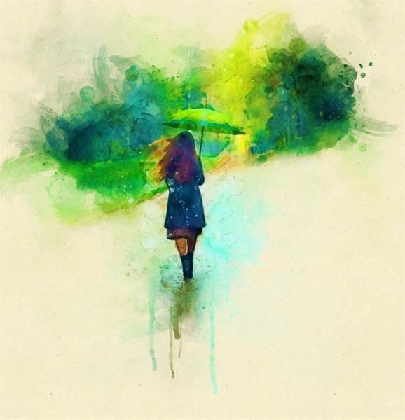 Wall Art - Painting - Green Umbrella by ArtMarketJapan