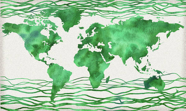 Wall Art - Painting - Green Wave Watercolor Map Of The World  by Irina Sztukowski