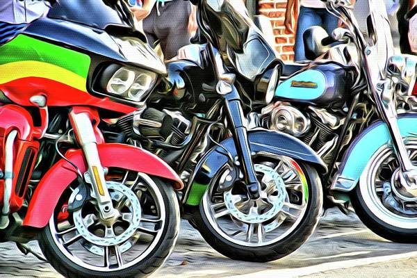 Daytona Bike Week Wall Art - Photograph - Green Yellow And Red by Alice Gipson