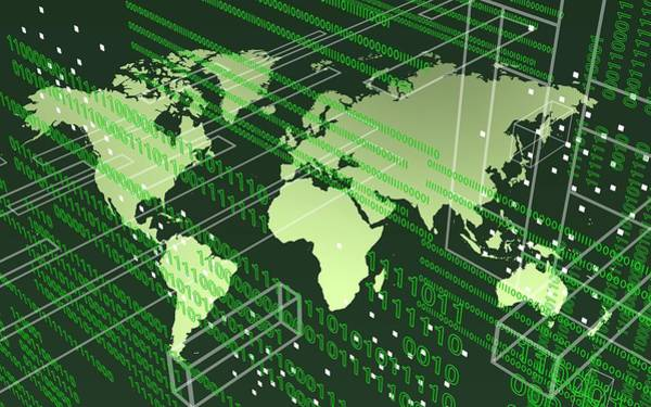 Digital Art - Greenish Worldmap In Tech Future. by Alberto RuiZ